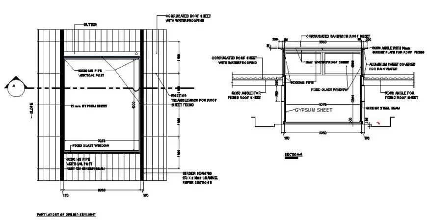 Skylight window details plan and section 2d view autocad