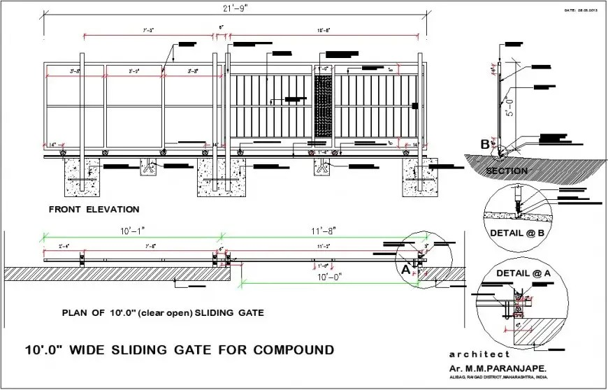Sliding gate 10x39 meters plan, elevation and section