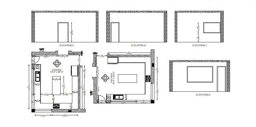 Small kitchen all sided elevation and layout plan cad
