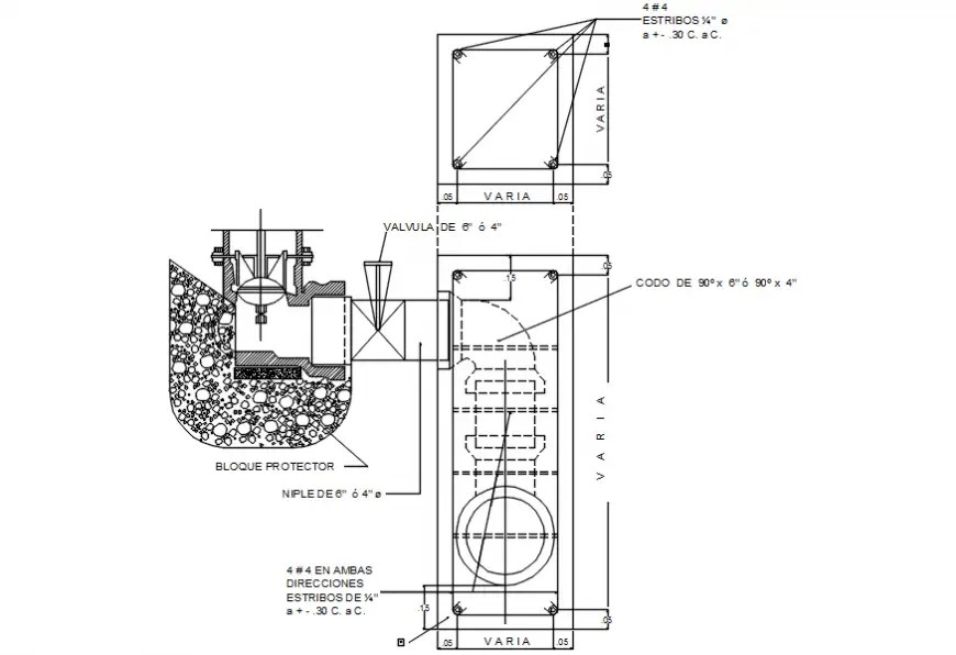 Street hydrant and irrigation system cad drawing details