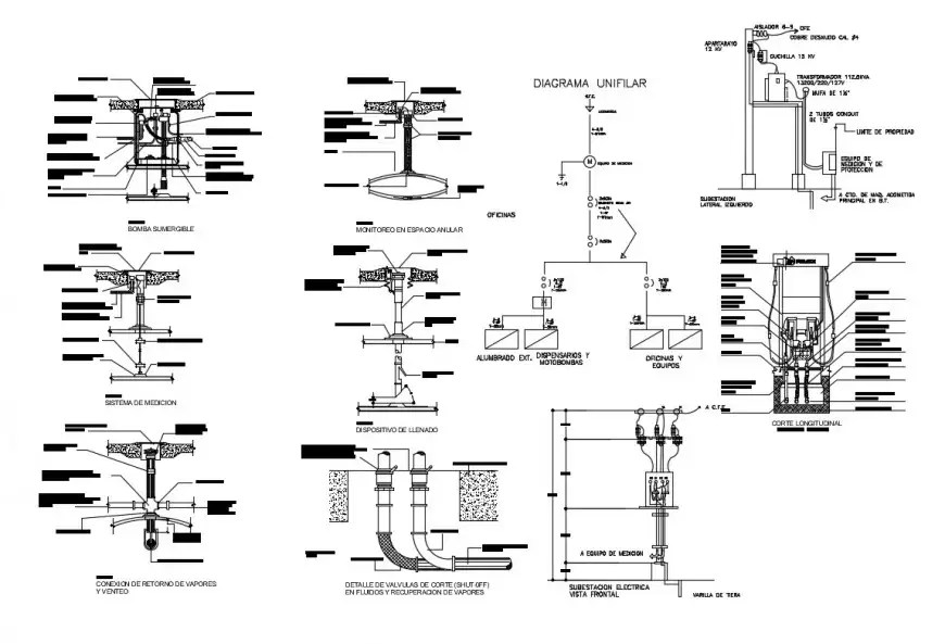 Submersible pump connection and installation details dwg