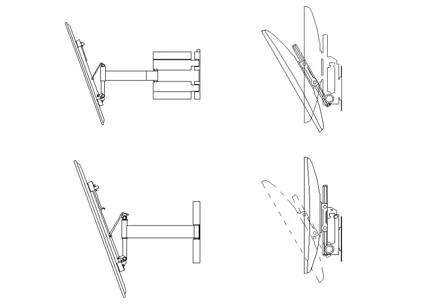 Television blocks with wall bracket cad drawing details