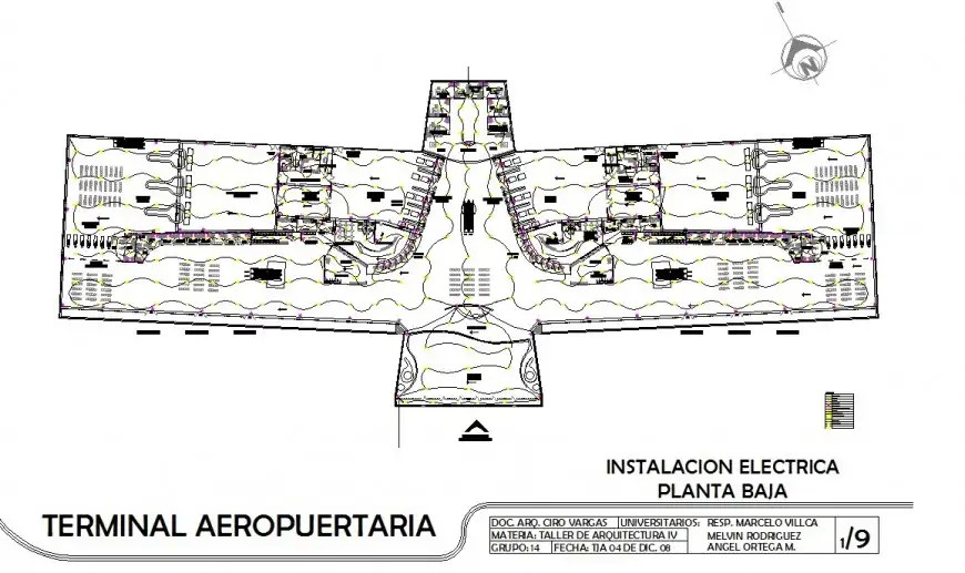 Terminal building of airport 2d view CAD block layout file