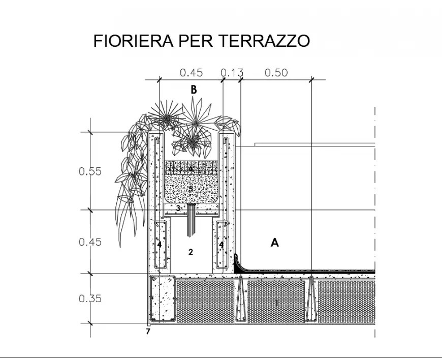 Terrace planter front view cad drawing details dwg file