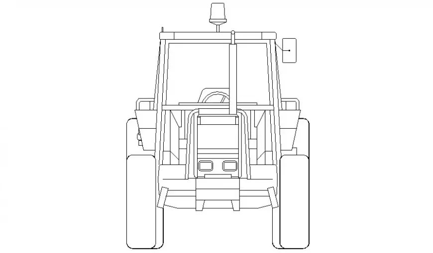 Tractor 2d view drawing transportation units AutoCAD file
