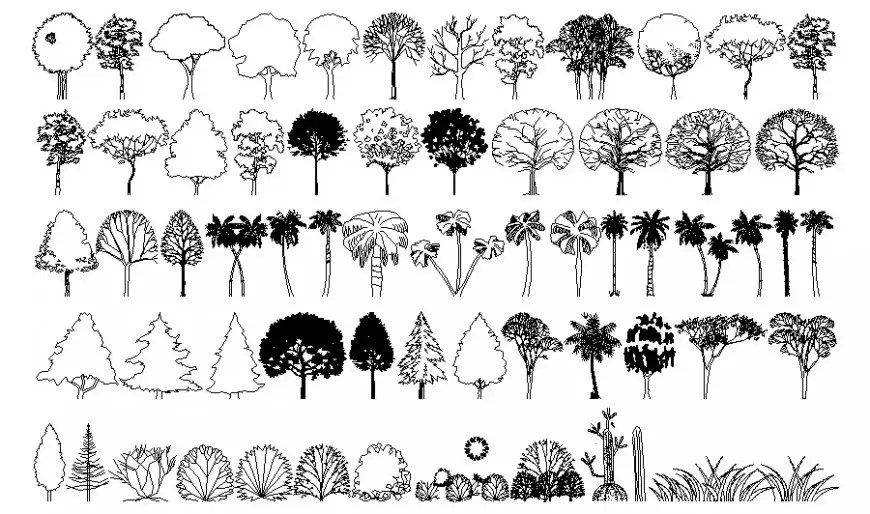 Trees and plants drawings 2d view in AutoCAD software