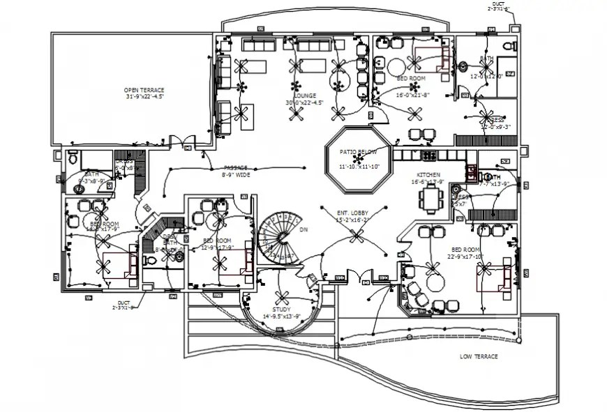 Two bedrooms house electrical installation and layout plan