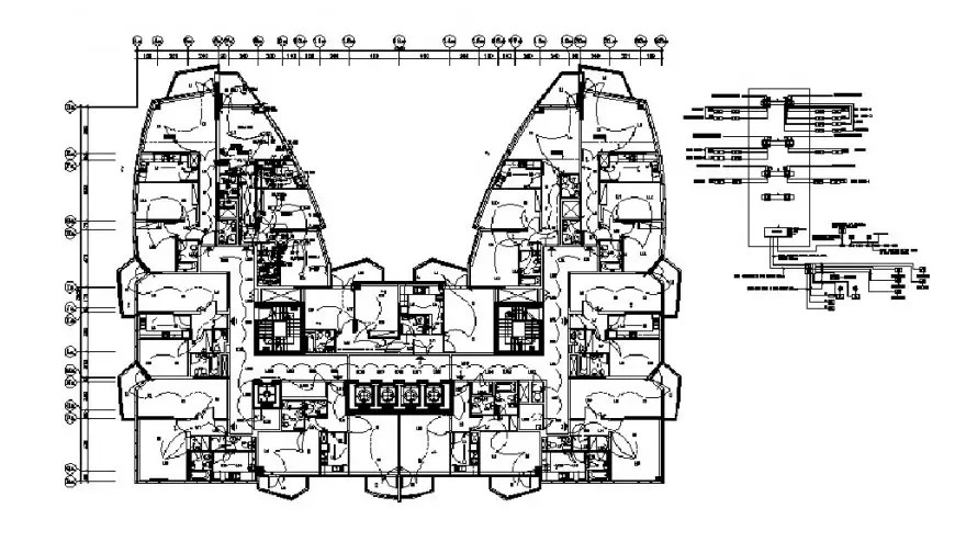 Typical flat third floor layout plan with electric
