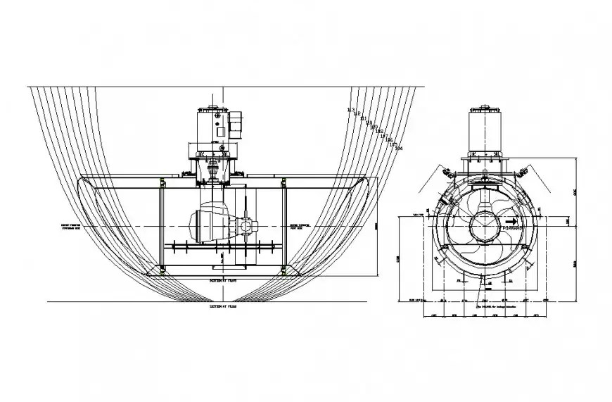 Water machine section and plumbing structure details dwg