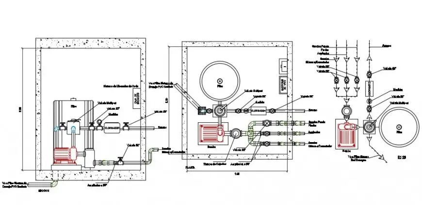 Water pump house section, plan and plumbing structure