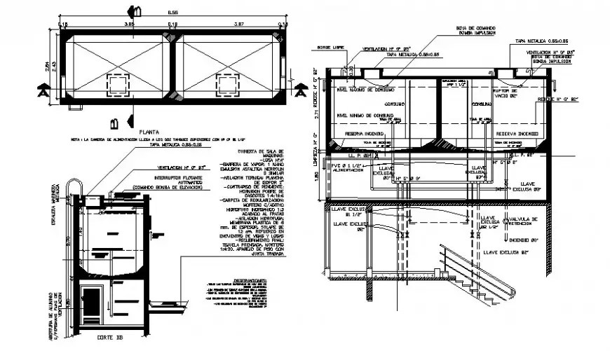 Water tank units drawings detail 2d view plan and section