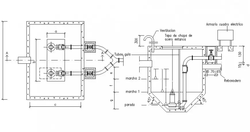 Well of pumping camara section and plumbing details dwg