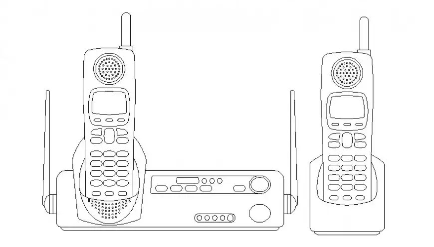 Wireless phones details drawings 2d view electrical block