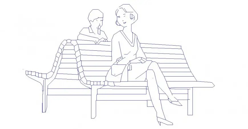 Women and child seating on bench elevation block cad