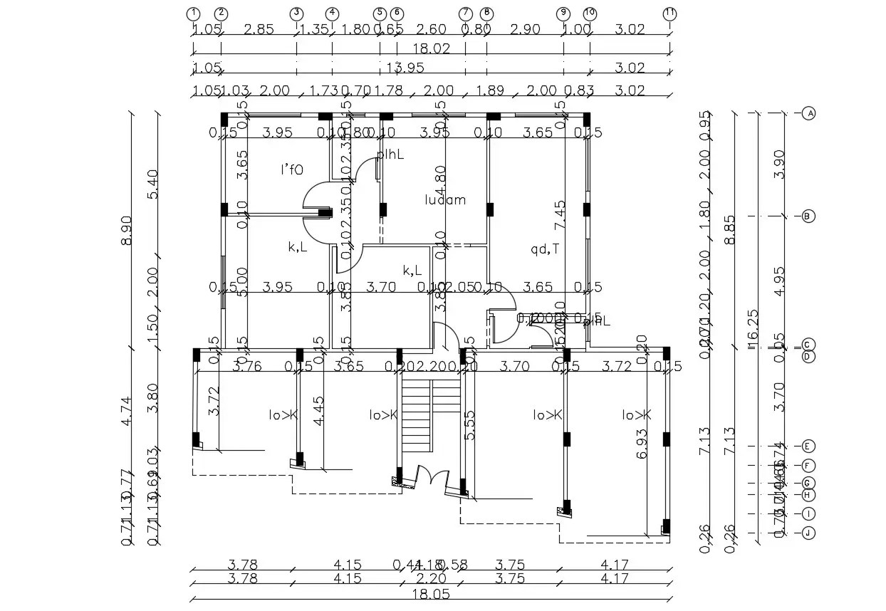 working Drawing Of Residential Building AutoCAD Drawing
