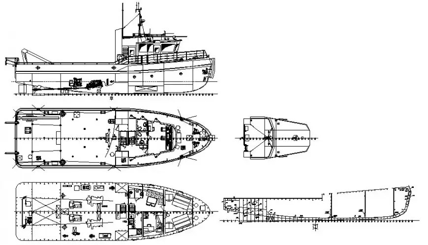 Yatch details drawing elevation 2d view in autocad