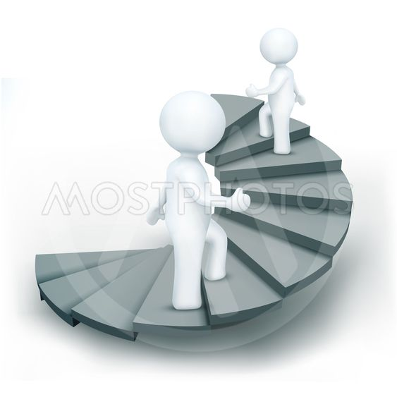 3d characters climbing step