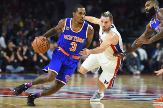 Nov 1, 2016; Auburn Hills, MI, USA; New York Knicks guard Brandon Jennings (3) drives to the basket as Detroit Pistons guard Beno Udrih (19) defends during the second quarter at The Palace of Auburn Hills. Mandatory Credit: Tim Fuller-USA TODAY Sports