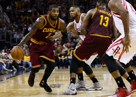 Nov 1, 2016; Cleveland, OH, USA; Cleveland Cavaliers guard Kyrie Irving (2) controls the ball in the second half against the Houston Rockets at Quicken Loans Arena. Cleveland won 128-120. Mandatory Credit: Rick Osentoski-USA TODAY Sports