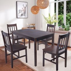 Solid Wood Dining Table And Chairs Vintage Leather Club Wooden Pine 4 Set Kitchen