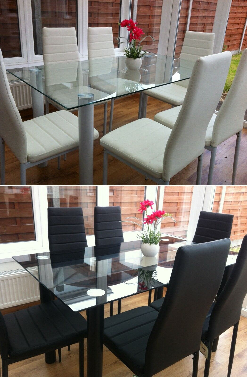 dining table set 6 chairs back support office south africa glass