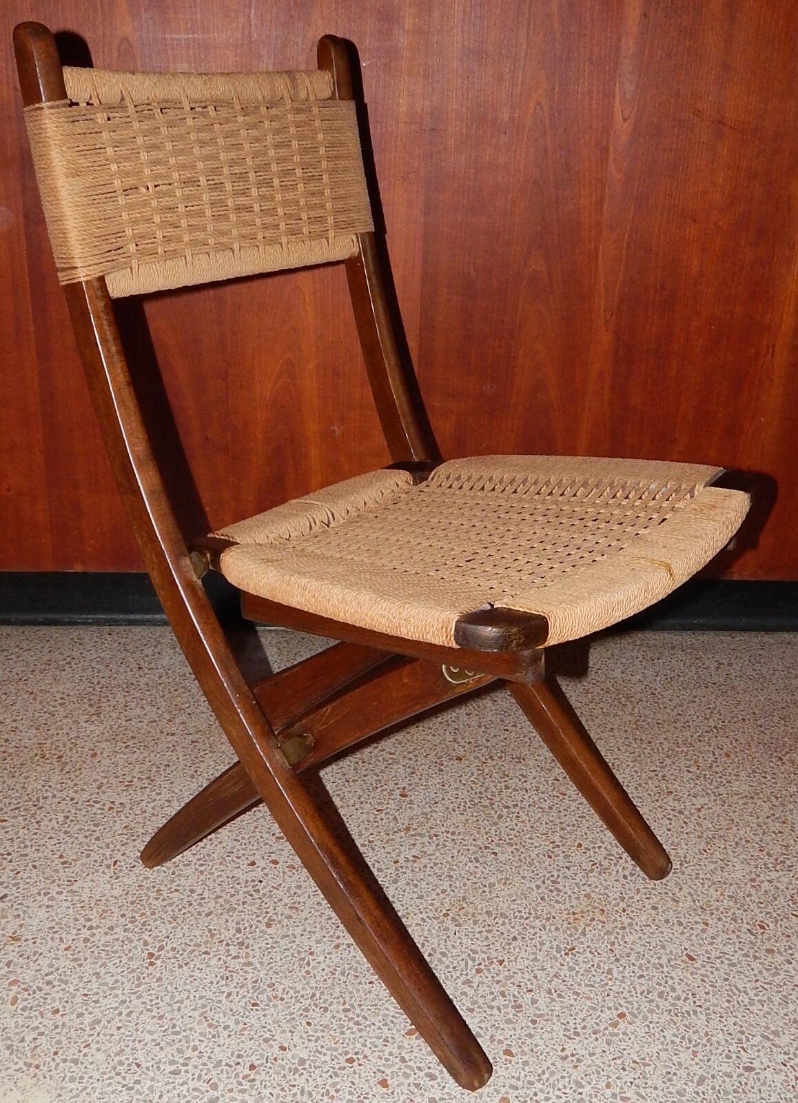 yugoslavian folding chair wicker rocking for sale vintage danish modern hans wegner era rope