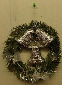 CHRISTMAS DOOR DECOR WREATH 3 SILVER BELLS HD PLASTIC 9 ...