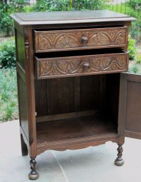 Antique English Carved Oak GOTHIC Barley Twist Cabinet ...