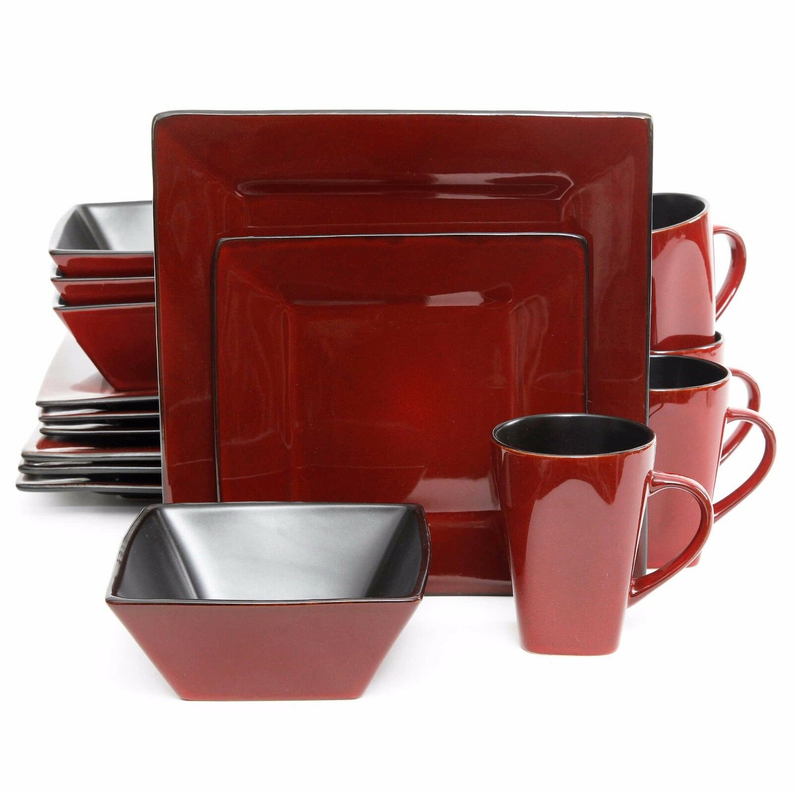 Red Square Dinnerware Set Dishes Black Kitchen Everyday