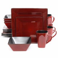 Red Square Dinnerware Set Dishes Black Kitchen Everyday ...