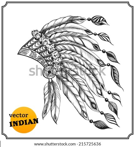 Native American Chieftain Headdress Feathers Indian Stock