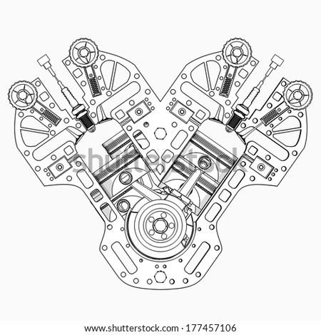 V8 Car Engine Cartoon Illustration Outline Stock