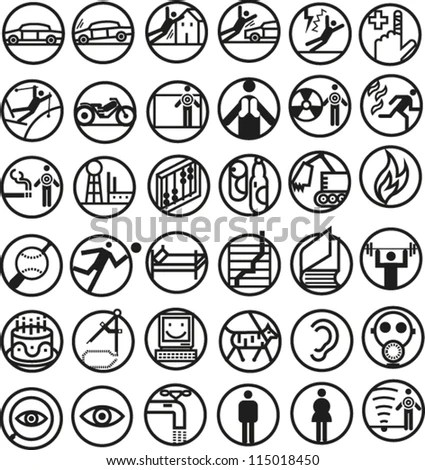 Set Round Bold Line Icons Illustrating Stock Vector