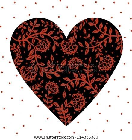 Wedding Heart Flowers Birds Bride Groom Stock Vector