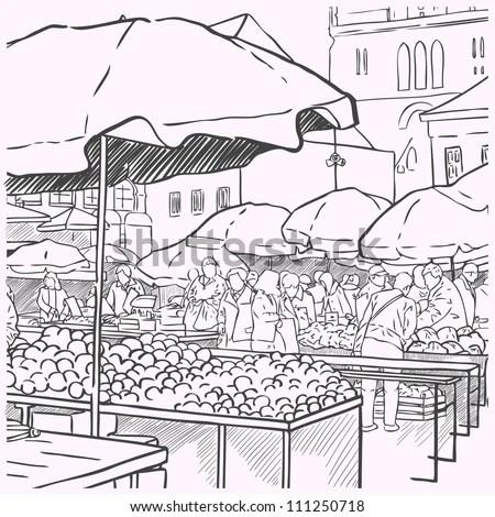 Man Selling Fish Outdoors Market Vector Stock Vector