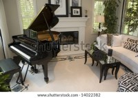 Contemporary Living Room Fireplace Grand Piano Stock Photo ...