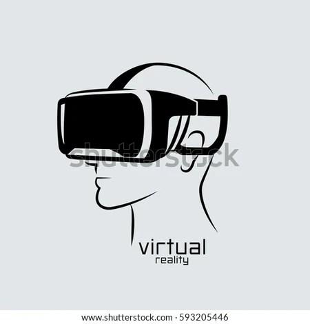 Virtual Reality Logo Flat Design Vector Stock Vector