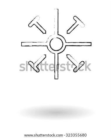 Coptic cross pencil sketch vector illustration, religious