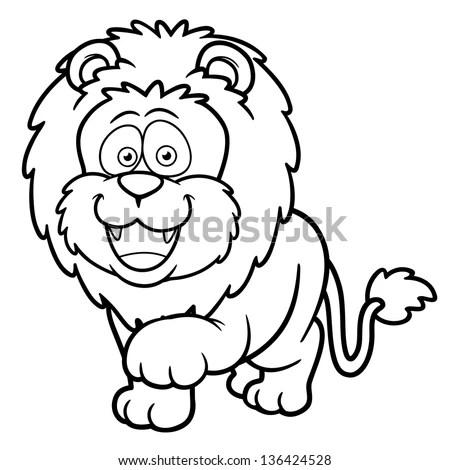 Cute Lion Lie Down Cartoon Line Stock Vector 89438236