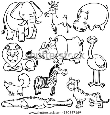Vector Illustration Wild Animals Cartoons Coloring Stock