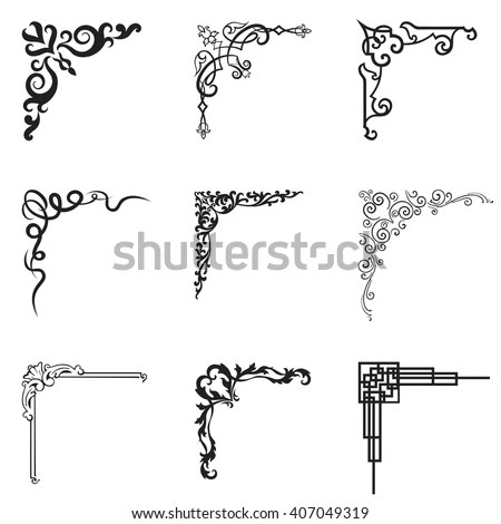 Ornamental Floral Geometric Corners Different Style Stock