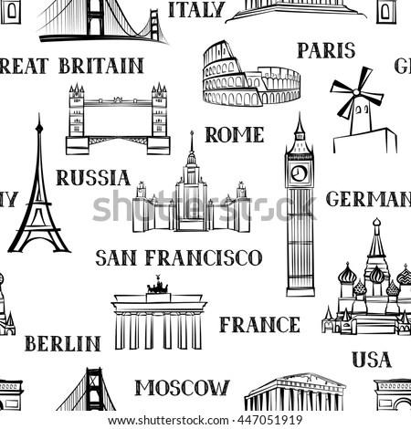 Travel Seamless Pattern Vacation Europe Wallpaper Stock