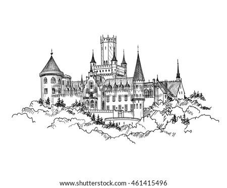 Famous German Castle Landscape Travel Germany Stock Vector