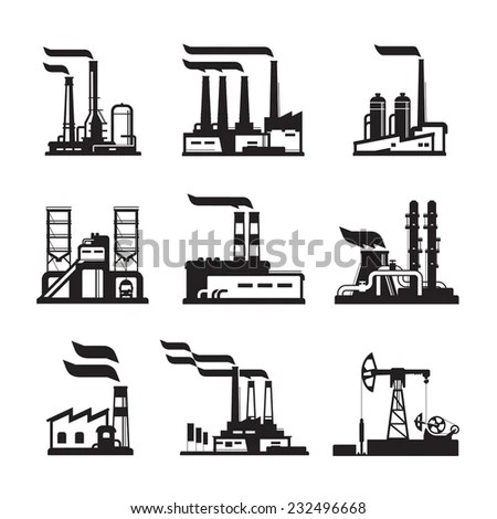 Factory Nuclear Plant Power Lines Stock Vector 87815209