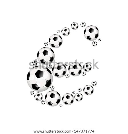 Soccer alphabet letter E illustration icon with soccer or