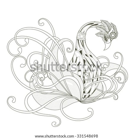 elegant swan coloring page design in exquisite style