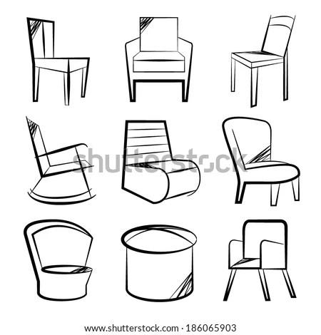 Sketch Chair Icons Set Sofa Set Stock Vector 186065903