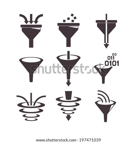 Filter Icons Data Filter Data Tunnel Stock Vector