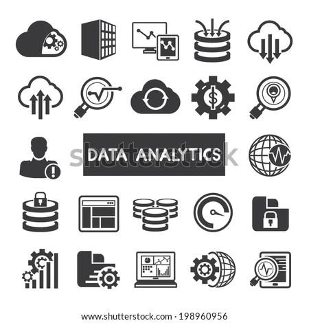 Data Analytics Icons Set Big Data Stock Vector 198960956