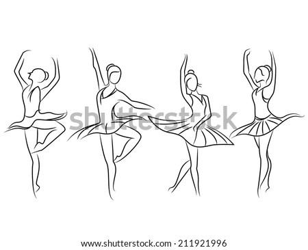 Ballet Dancer Set Sketch Theme Stock Vector 211921996